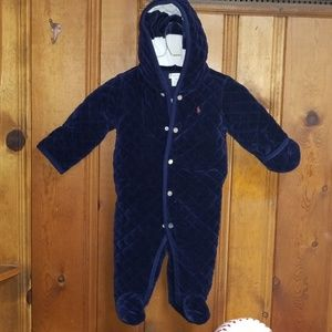 Ralph Lauren baby winter quilted onesie dark blue